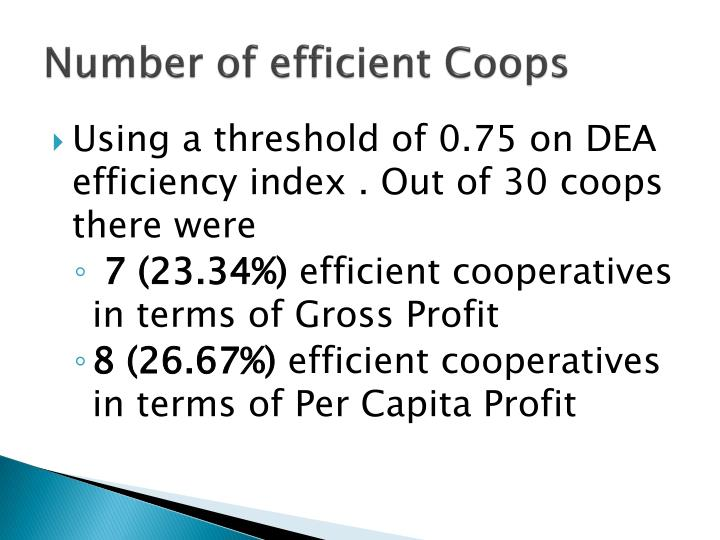 Number of efficient Coops