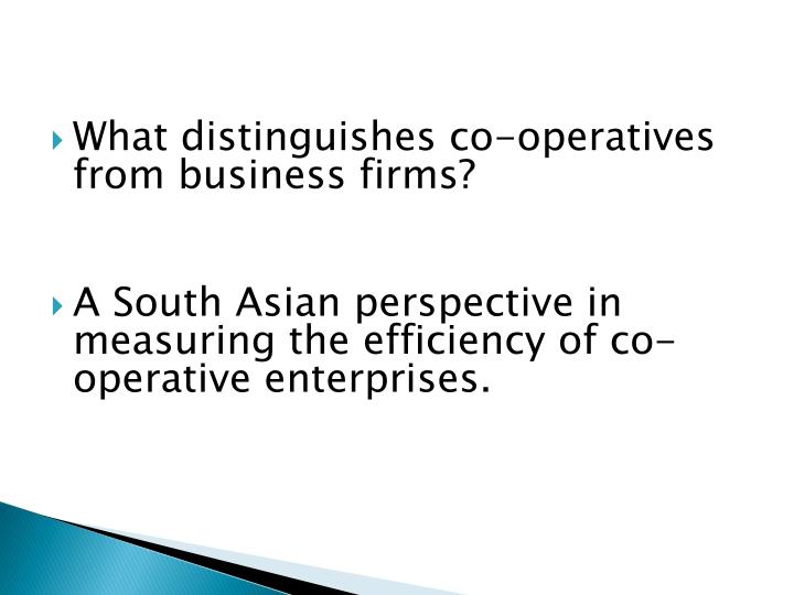 What distinguishes co-operatives from business firms?