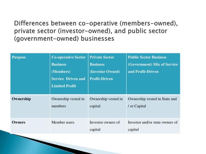 Differences between co-operative (members-owned), private sector (investor-owned), and public sector (government-owned) businesses