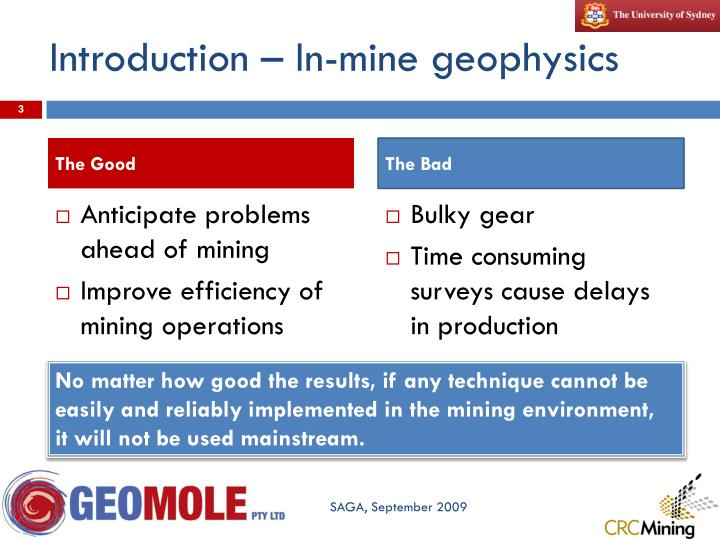 Introduction – In-mine geophysics