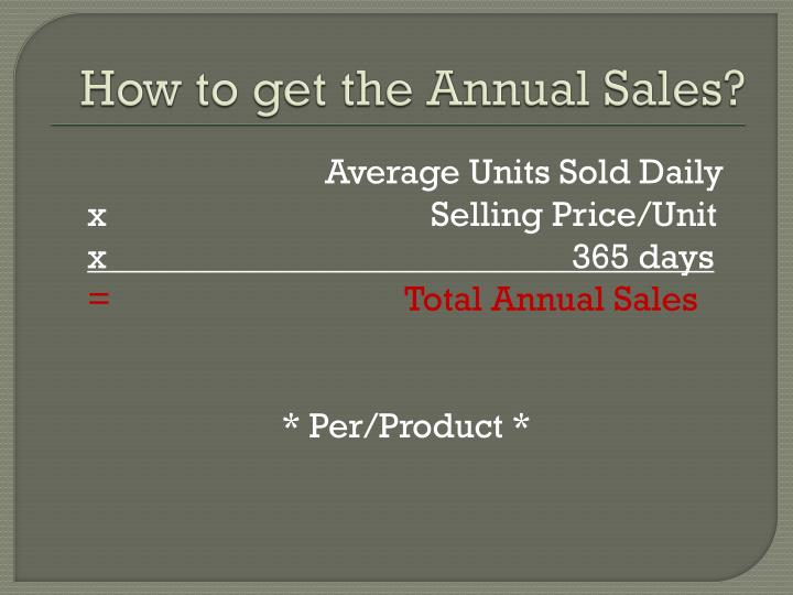 How to get the Annual Sales?