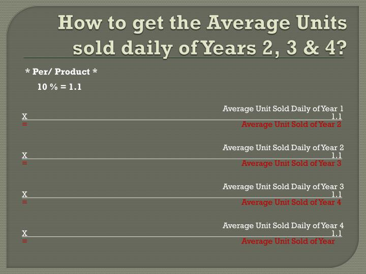 How to get the Average Units sold daily of Years 2, 3 & 4?