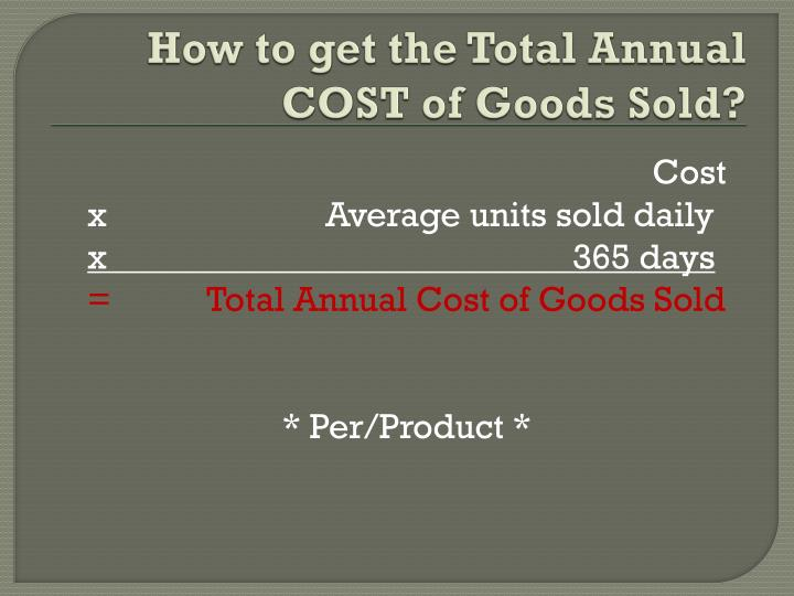 How to get the Total Annual COST of Goods Sold?
