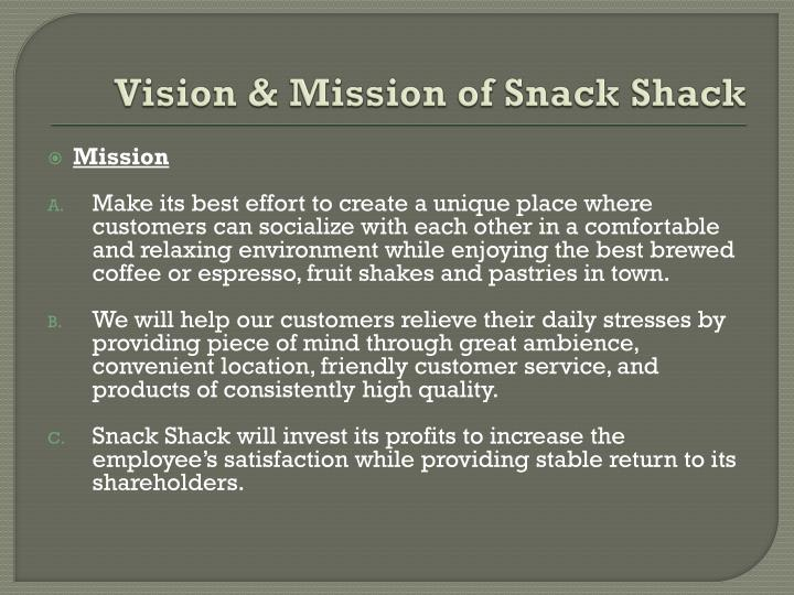 Vision & Mission of Snack Shack