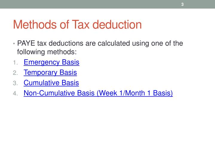 Methods of Tax deduction