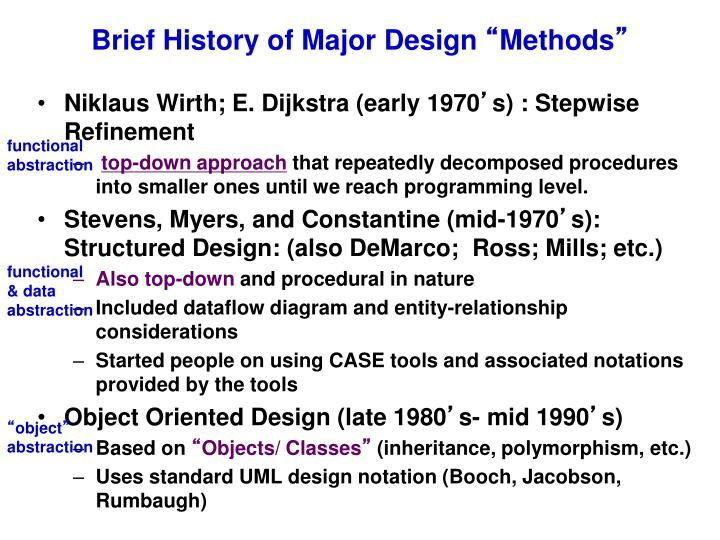 Brief History of Major Design