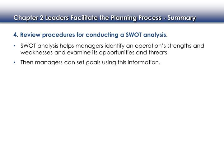 4. Review procedures for conducting a SWOT analysis.