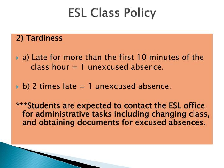 ESL Class Policy