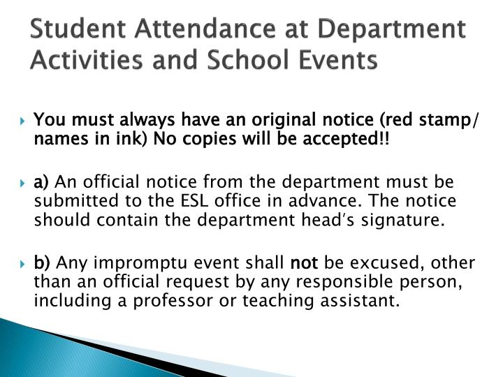 Student Attendance at Department