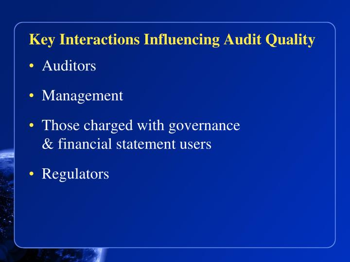 Key Interactions Influencing Audit Quality