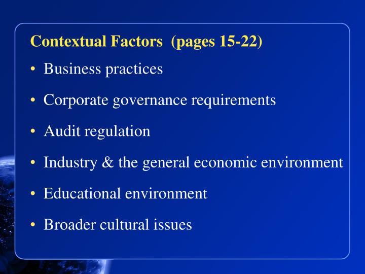 Contextual Factors  (pages 15-22)