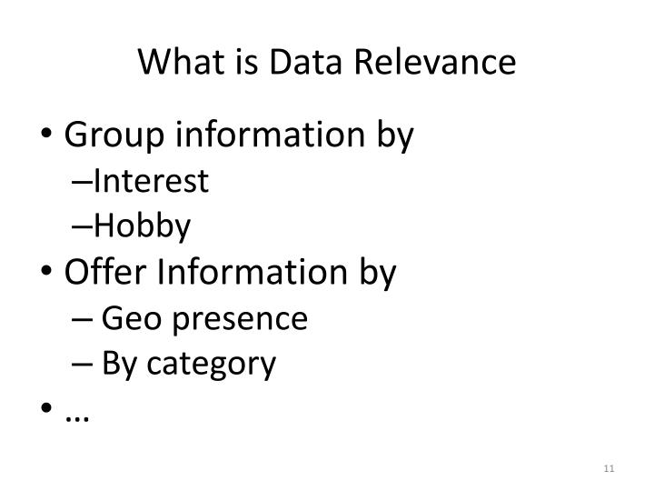 What is Data Relevance