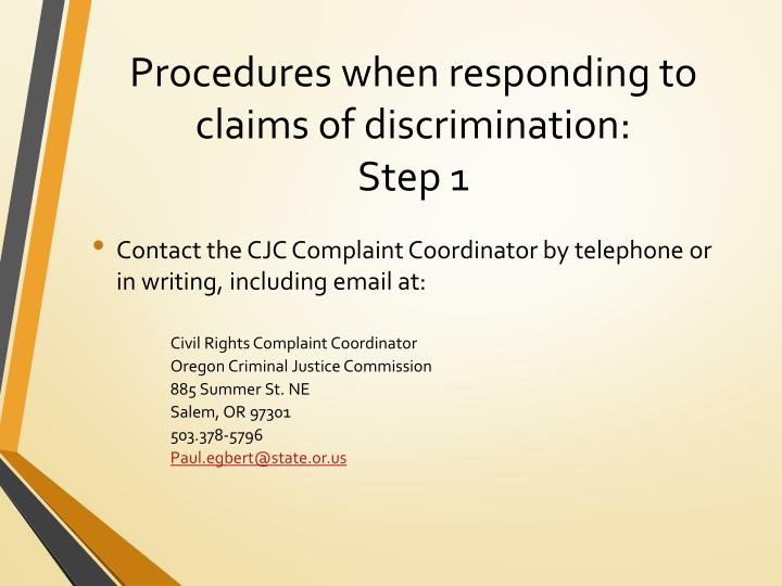 Procedures when responding to claims of