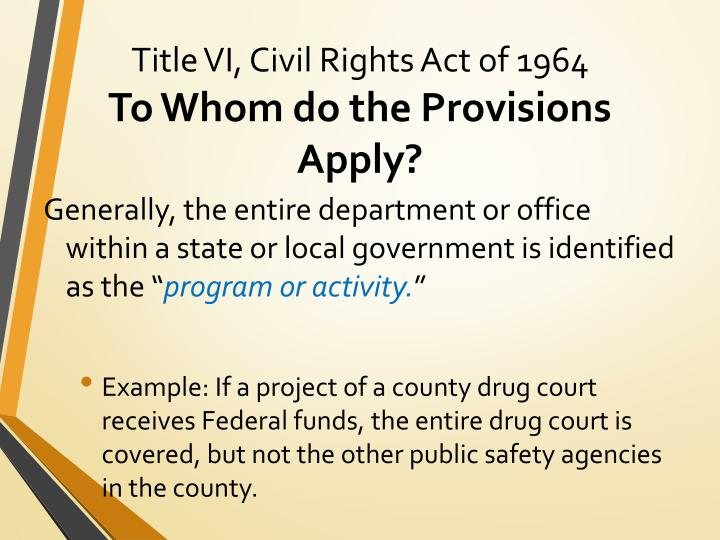 Title VI, Civil Rights Act of 1964