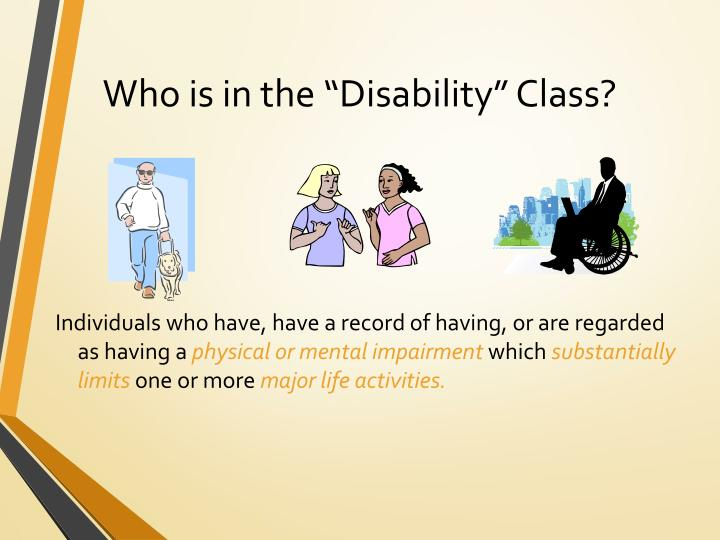 "Who is in the ""Disability"" Class?"
