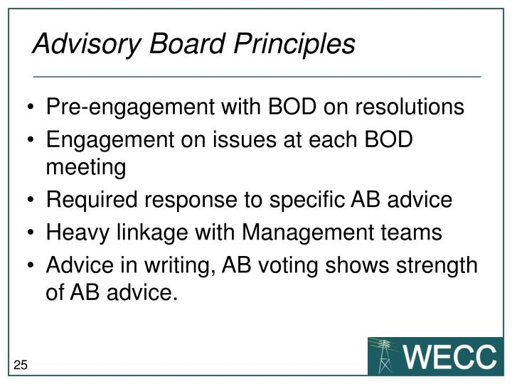 Advisory Board Principles
