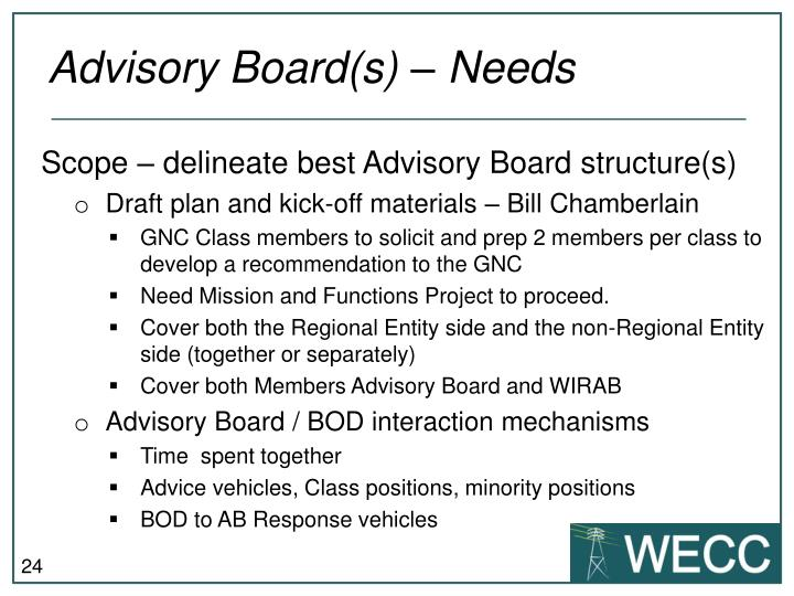 Advisory Board(s) – Needs