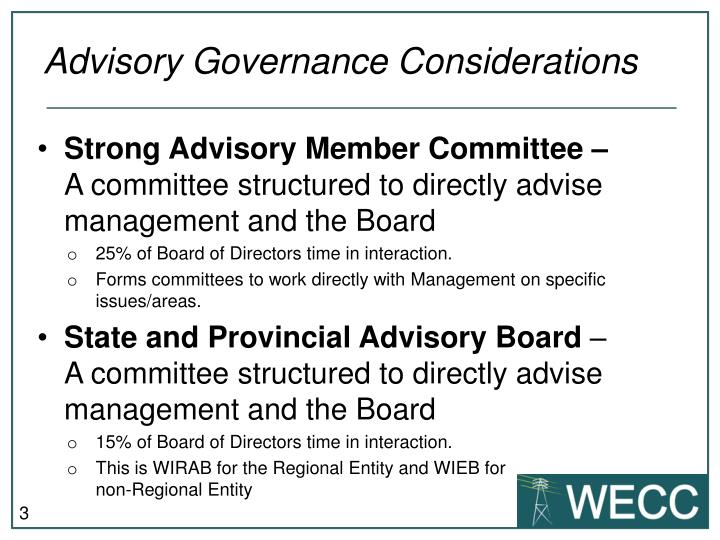 Advisory governance considerations