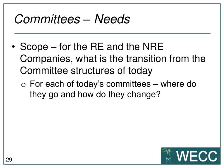 Committees – Needs
