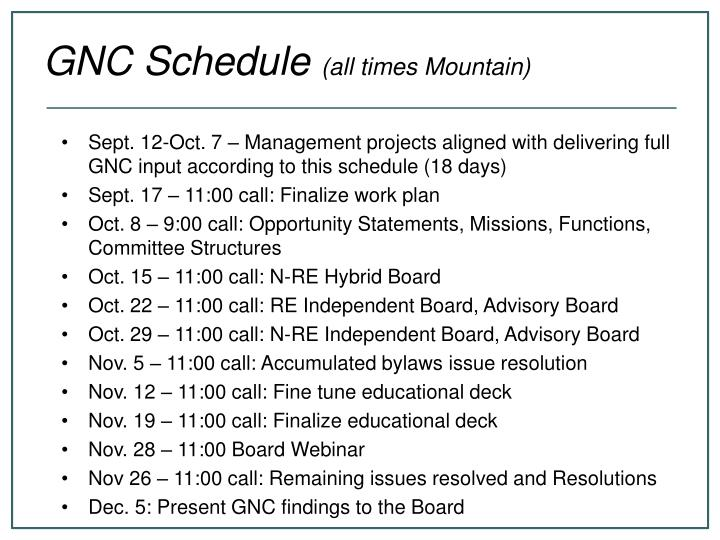 Sept. 12-Oct. 7 – Management projects aligned with delivering full GNC input according to this schedule (18 days)