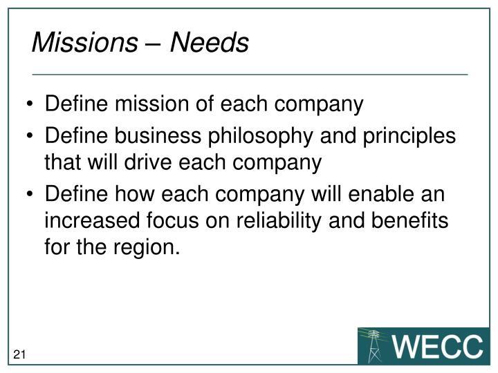 Missions – Needs