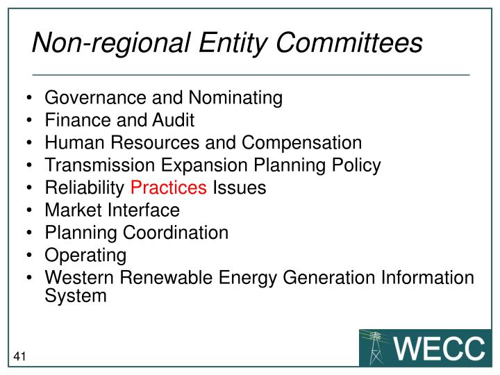 Non-regional Entity Committees