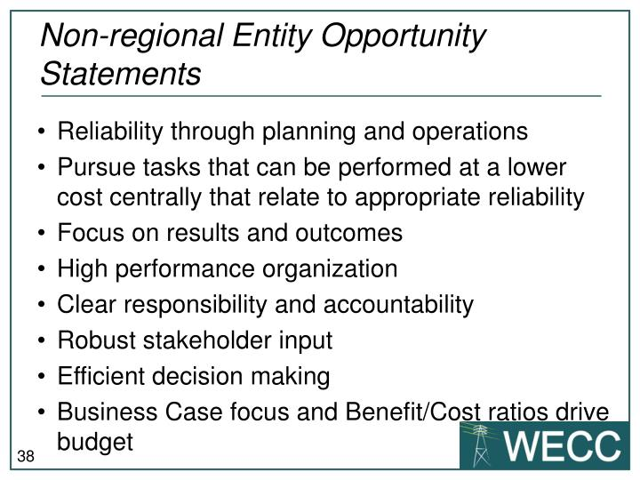 Non-regional Entity Opportunity Statements