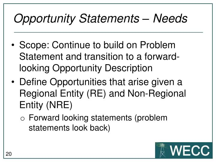 Opportunity Statements – Needs