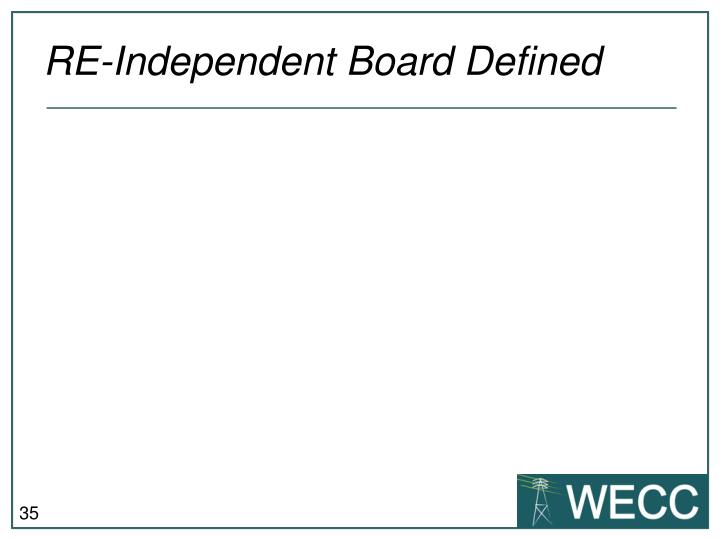 RE-Independent Board Defined