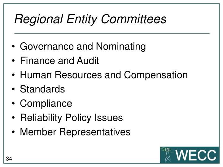 Regional Entity Committees