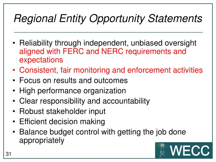 Regional Entity Opportunity Statements
