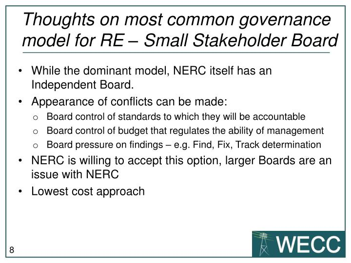 Thoughts on most common governance model for RE – Small Stakeholder Board