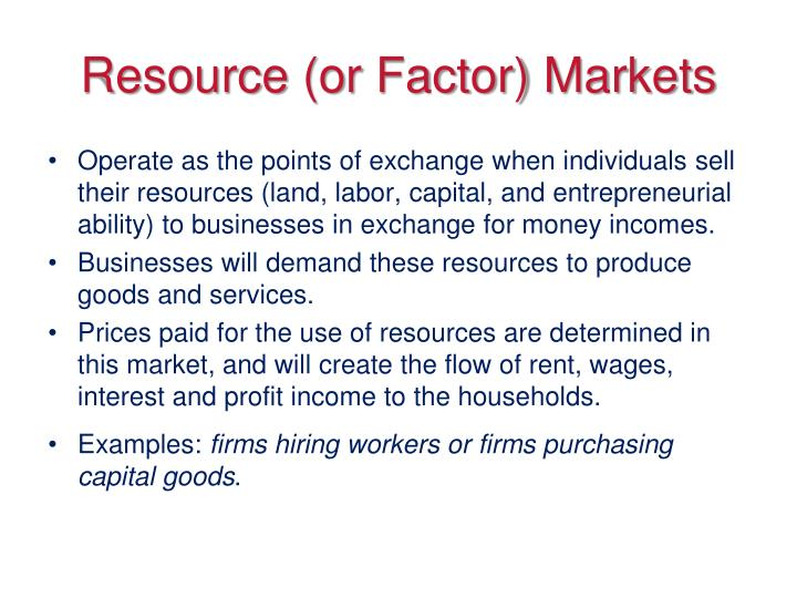 Resource or factor markets