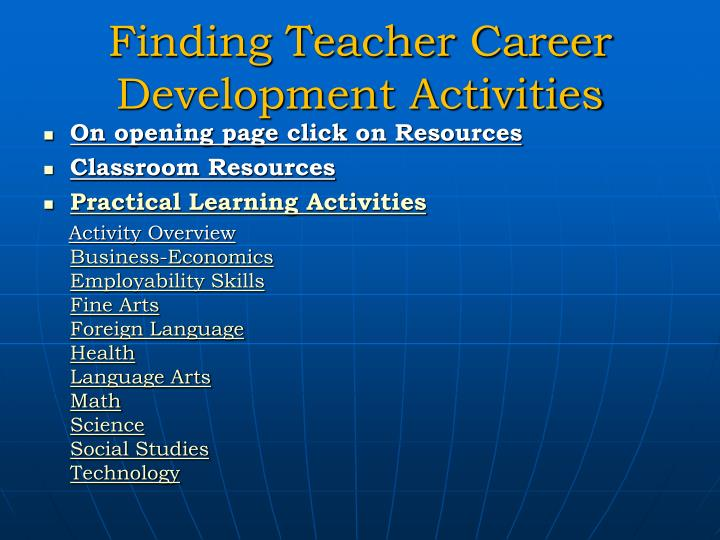 Finding Teacher Career Development Activities