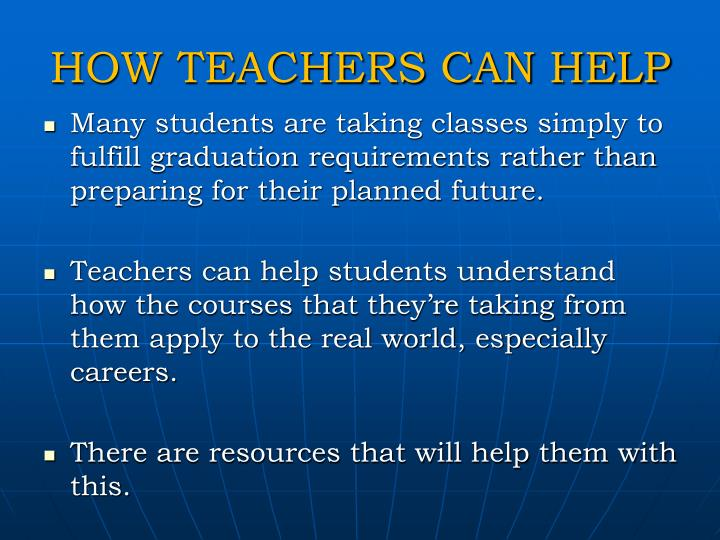 HOW TEACHERS CAN HELP