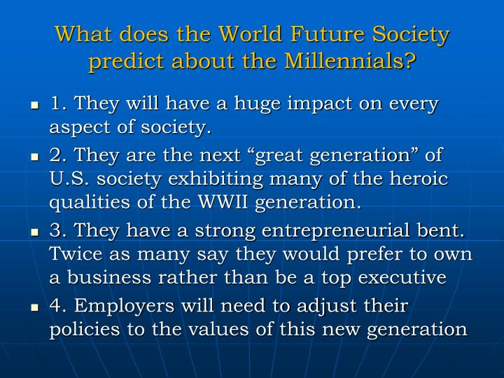 What does the World Future Society predict about the