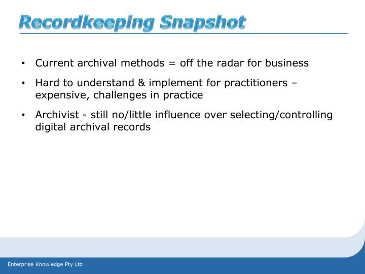 Recordkeeping Snapshot
