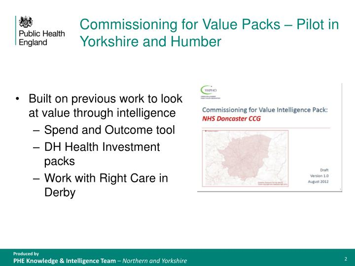 Commissioning for value packs pilot in yorkshire and humber
