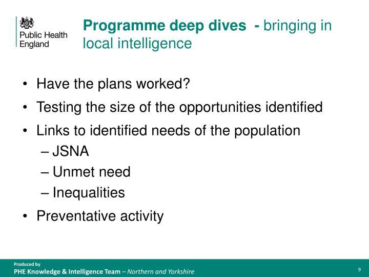 Programme deep dives