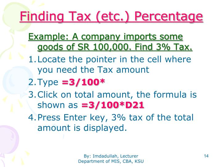 Finding Tax (etc.) Percentage