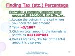 finding tax etc percentage