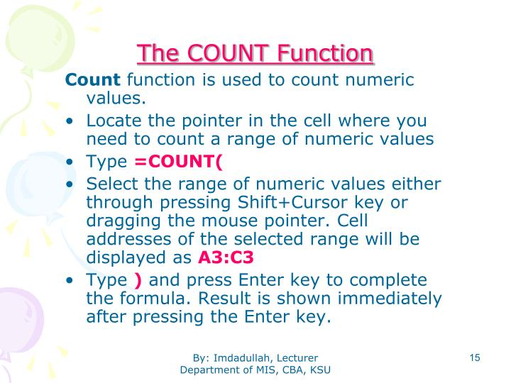 The COUNT Function