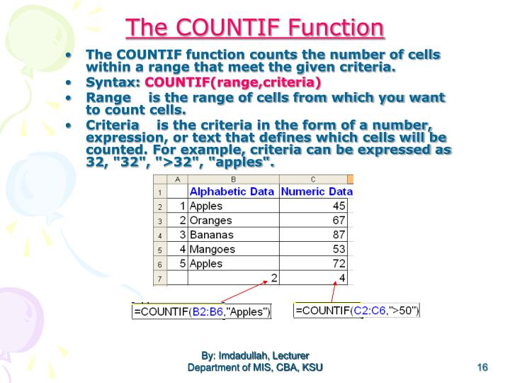 The COUNTIF function counts the number of cells within a range that meet the given criteria.