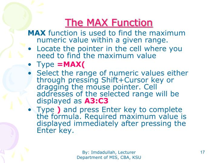 The MAX Function