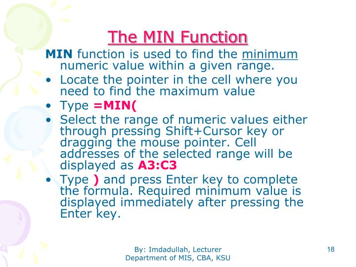 The MIN Function