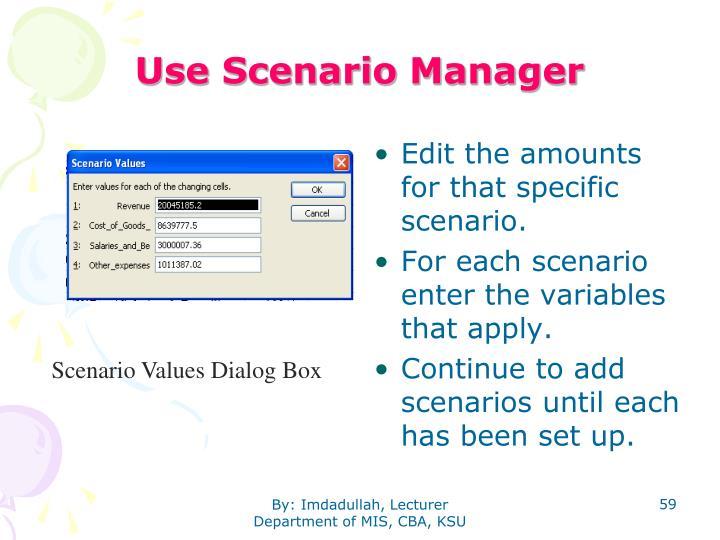 Use Scenario Manager