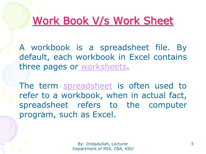 Work Book V/s Work Sheet