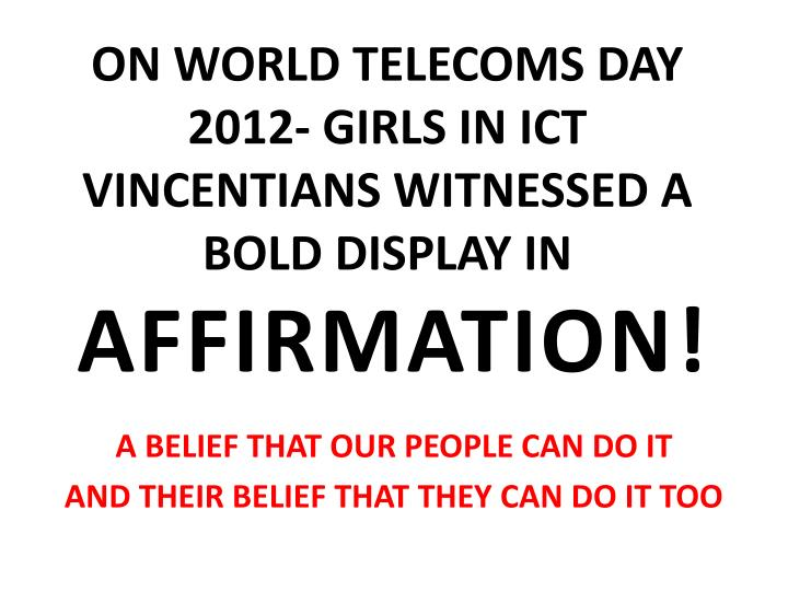 ON WORLD TELECOMS DAY