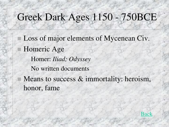 Greek Dark Ages 1150 - 750BCE