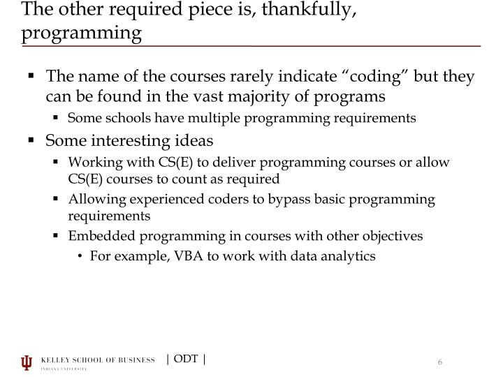 The other required piece is, thankfully, programming